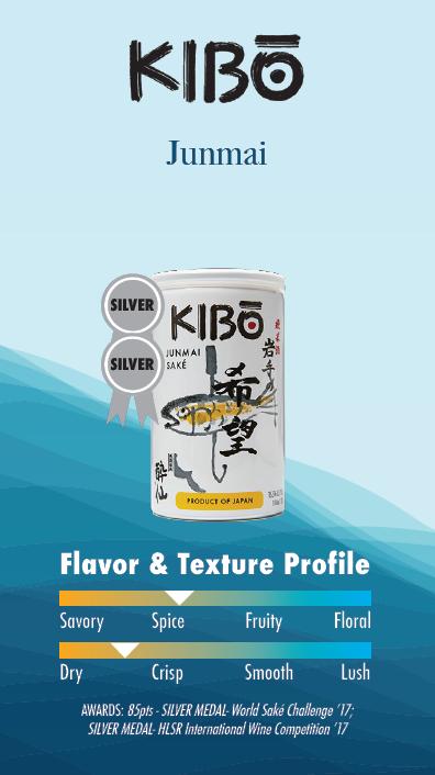 Kibo's Sliver ribbon Junmai spicy flavor and dry texture saké