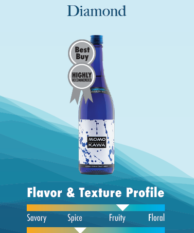 Momokawa's Best Buy and Highly Recommended Diamond Saké fruity flavor and crisp profile