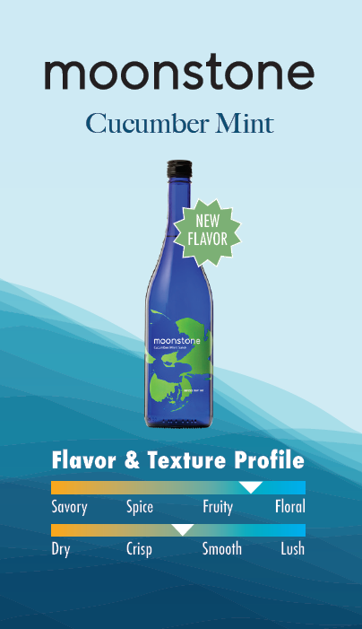 Moonstone Cucumber Mint Saké slightly fruity flavor and slightly crisp texture profile
