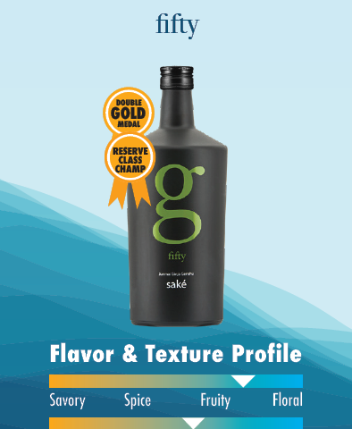 G Fifty Saké Double Gold Medal and Reserve Class Champ flavor and texture profile card